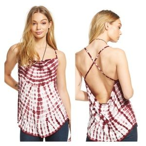 Chaser Tie Dye Draped Cross Back Cami Top New